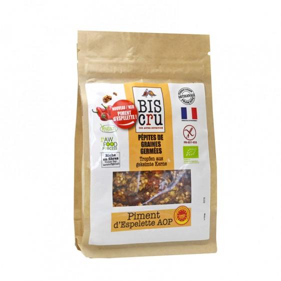 Pépites de graines germées au piment d'espelette BIO, Biscru (100 g)