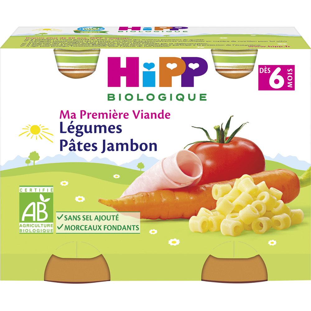Ma première viande légumes pâtes jambon BIO - dès 6 mois, Hipp (2 x 190 g)