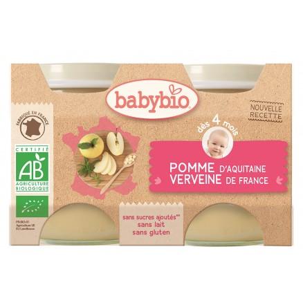 Petit pot pomme d'Aquitaine, verveine BIO - dès 4 mois, Babybio (2 x 130 g)