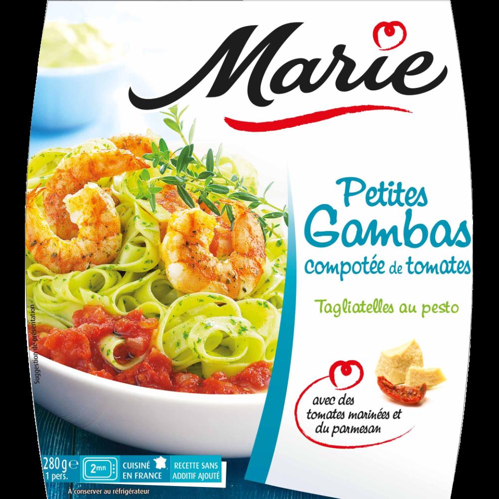 Petites gambas tomates et taglatielles pesto, Marie (280 g)