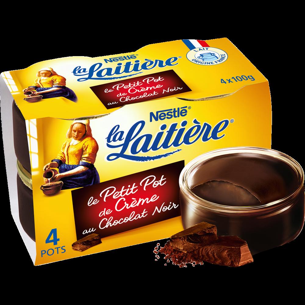 Petit pot Crème chocolat extra noir, La Laitière (4 x 100 g)