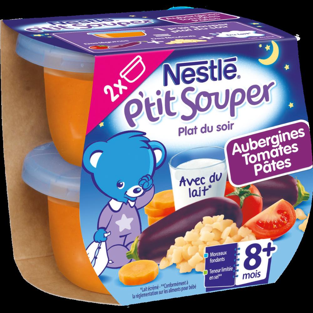 Petits pots aubergines, tomates et pâtes - dès 8 mois, Nestlé (2 x 200 g)