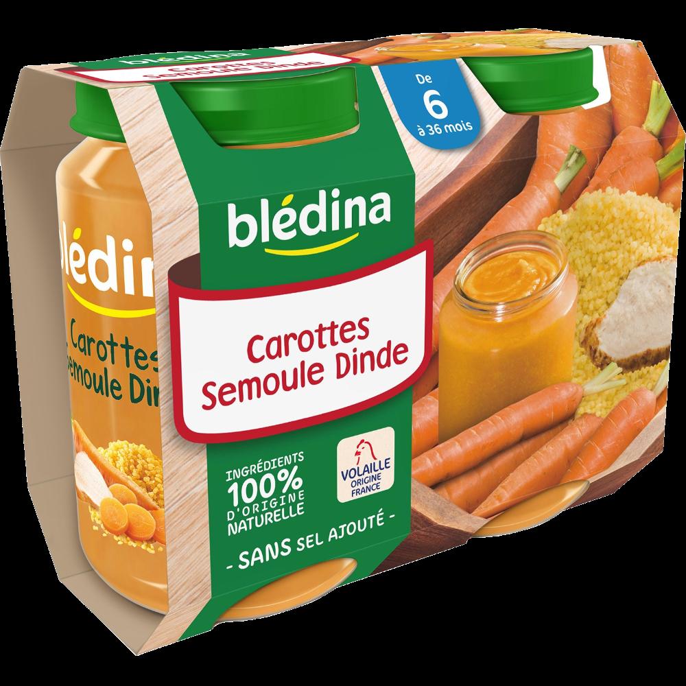 Petit pot carottes, semoule, dinde - dès 6 mois, Blédina (2 x 200 g)