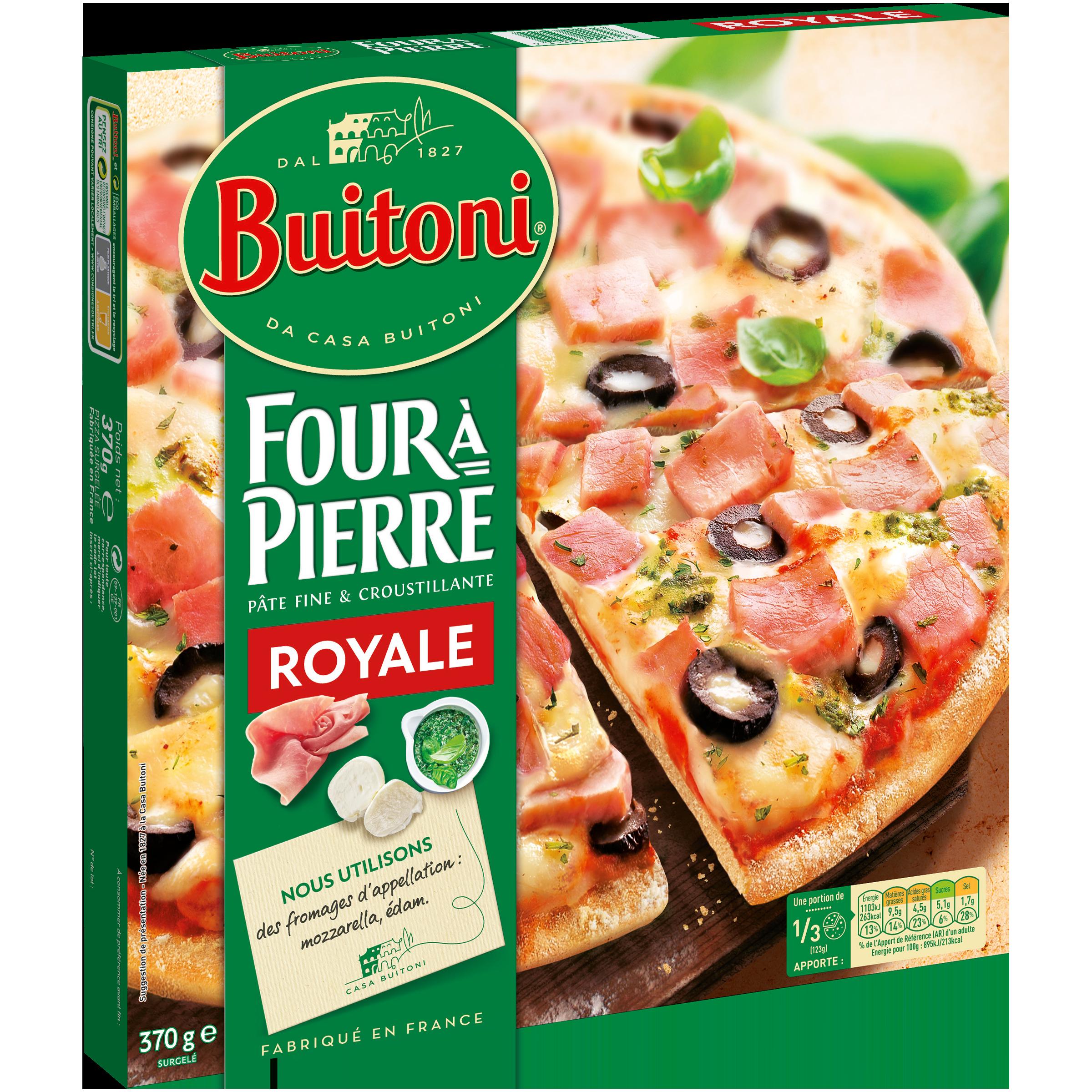 Pizza pâte fine Royale Four à pierre, Buitoni surgelé (370 g)