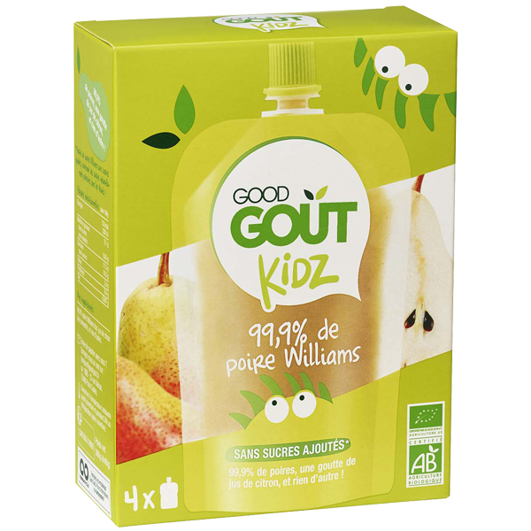 Gourdes Poire Williams BIO - dès 3 ans, Good Goût Kid'z (4 x 90 g)