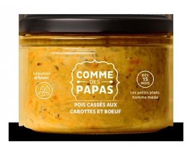 Pois cassés aux carottes et boeuf - 15 mois, Comme des papas (230 g)