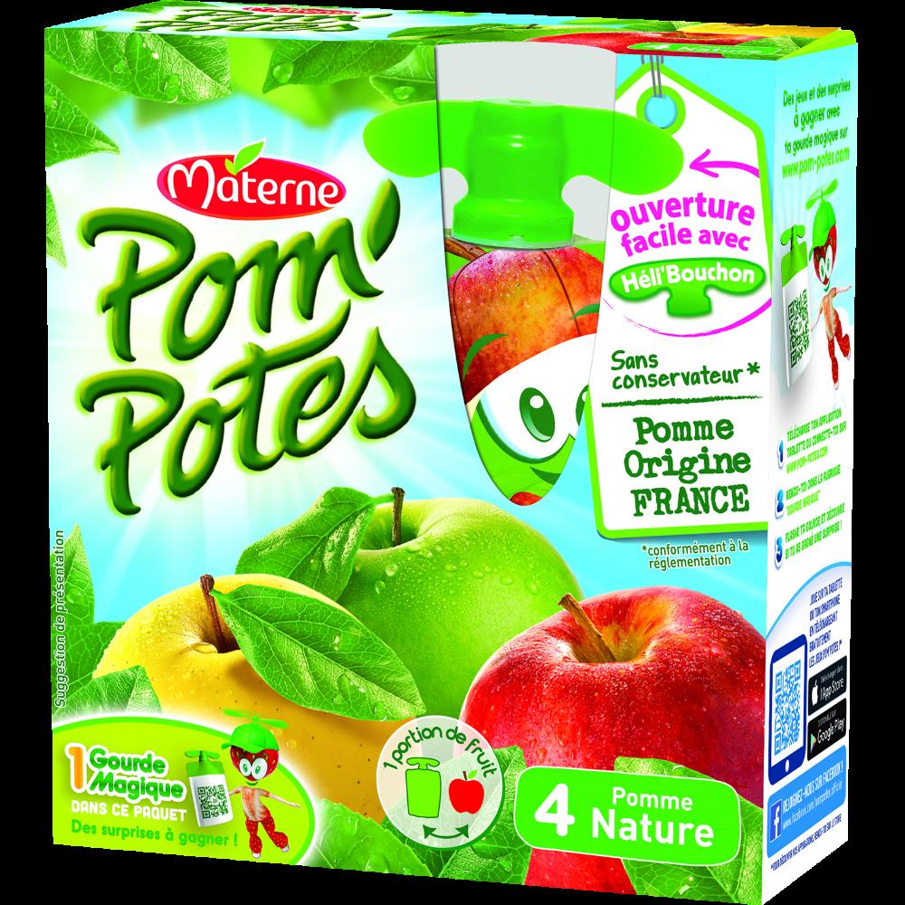Pom'Potes allégés en sucre pomme nature, Materne (4 x 90 g)