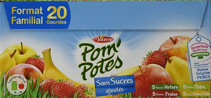 Pom'Potes pomme nature sans sucres ajoutés, Materne (20 x 90 g)