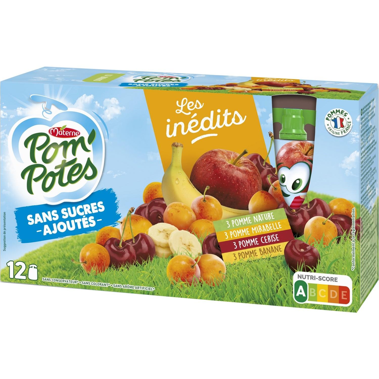 Pom'Potes sans sucre ajouté pomme, mirabelle, cerise, banane, Materne (12 x 90 g)