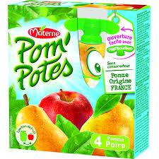 Pom'Potes pomme poire sans sucres ajoutés, Materne (4 x 90 g)