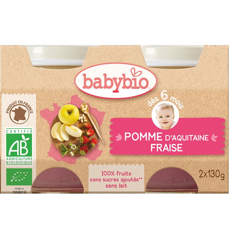 Petit pot pomme d'Aquitaine, fraise BIO - dès 6 mois, Babybio (2 x 130 g)