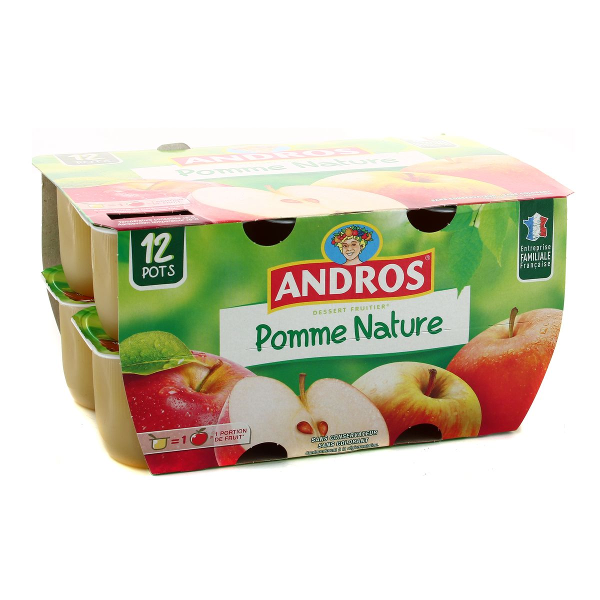 Compote pomme Nature, Andros (12 x 100 g)