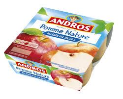 Compote pomme nature allégée en sucres, Andros (4 x 100 g)