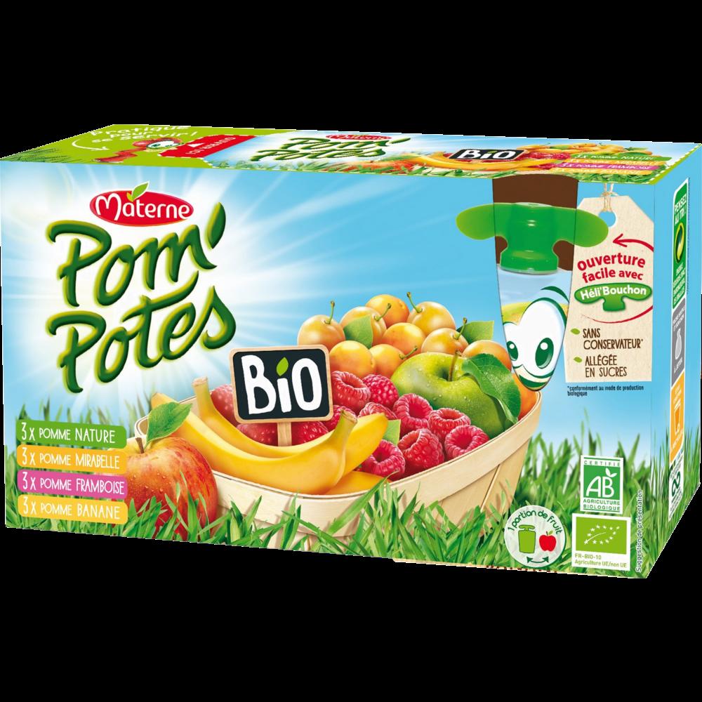 Pom'Potes allégés en sucre multivariétés BIO, Materne (12 x 90 g)