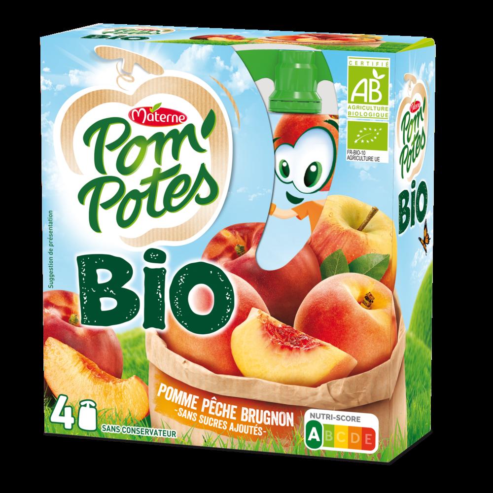 Pom'Potes sans sucres ajoutés pomme/pêche/brugnon BIO, Materne (4 x 90 g)