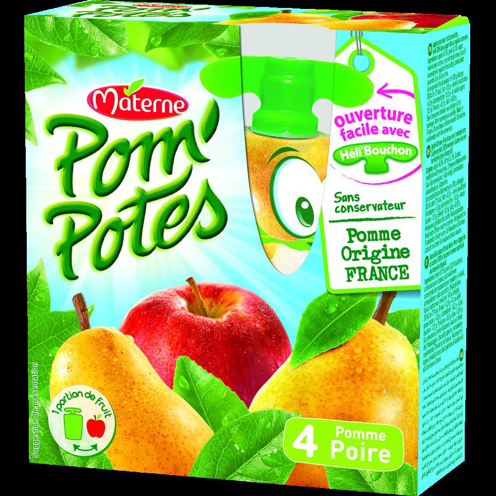 Pom'Potes allégés en sucre pomme/poire, Materne (4 x 90 g)
