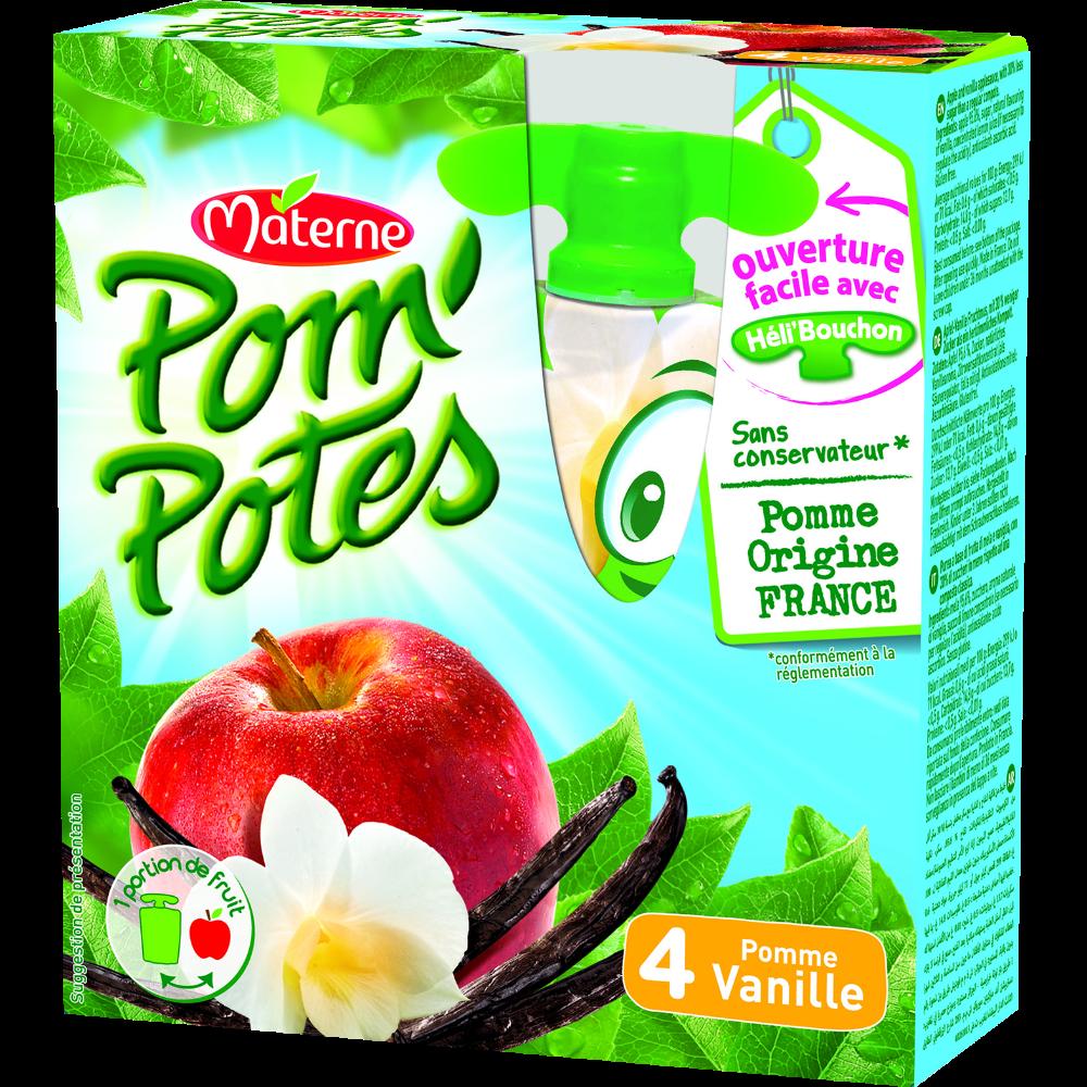 Pom'Potes pomme/vanille, Materne (4 x 90 g)