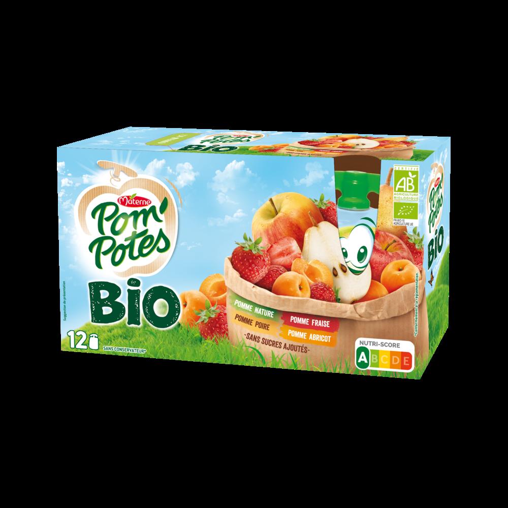 Pom'Potes sans sucres ajoutés multivariétés BIO, Materne (12 x 90 g)