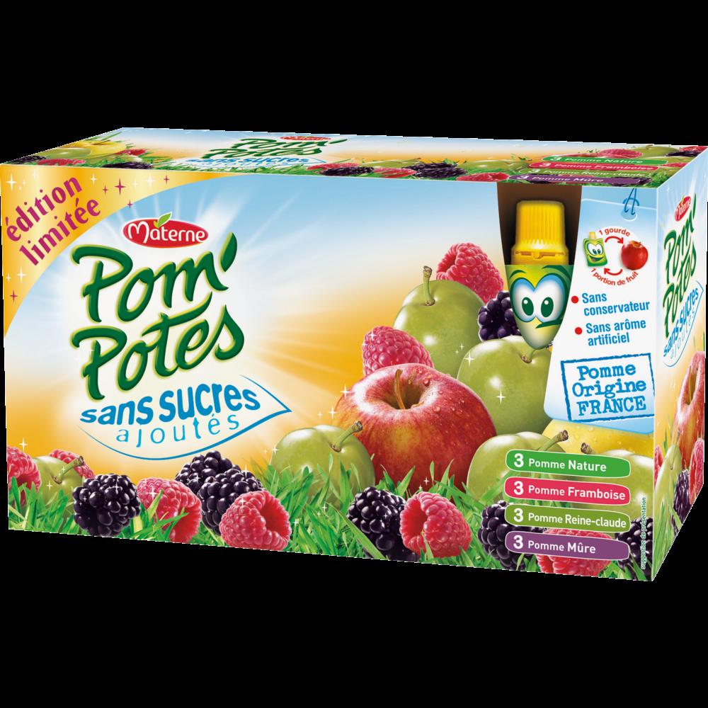 Pom'Potes sans sucres ajoutés multivariété, Materne (12 x 90 g)