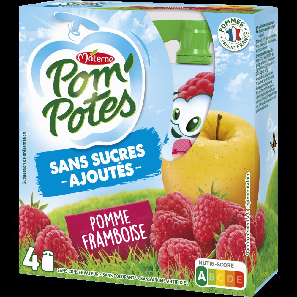 Pom'Potes sans sucre ajouté pomme/framboise, Materne (4 x 90 g)