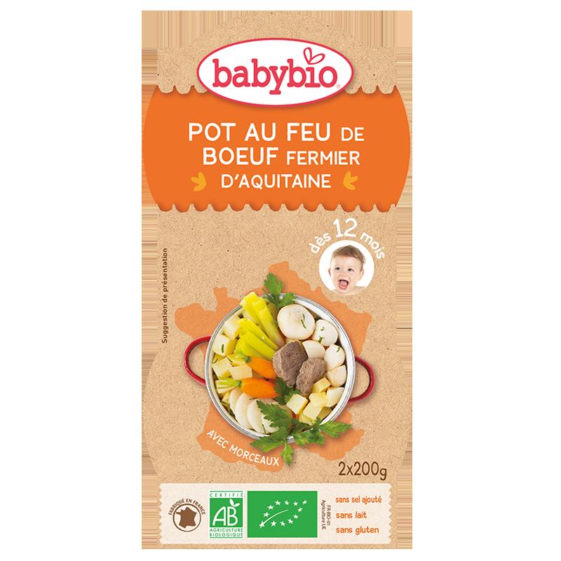 Bols pot-au-feu de boeuf fermir d'Aquitaine BIO - dès 12 mois, Babybio (2 x 200 g)