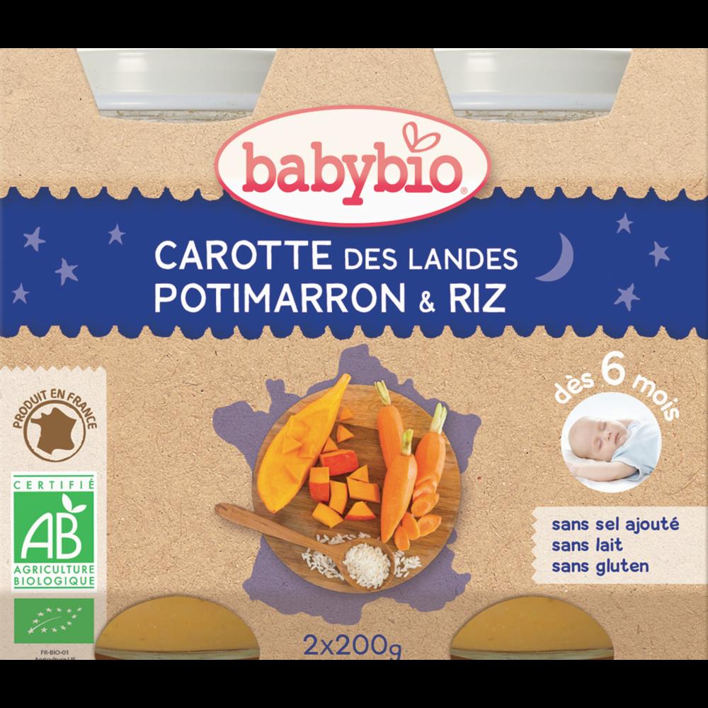 Petit pot bonne nuit carotte des landes, potimarron, riz BIO - dès 6 mois, Babybio (2 x 200 g)