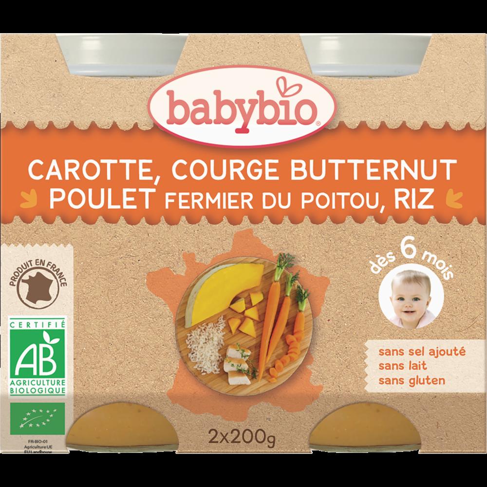 Petit pot carotte, courge butternut, poulet fermier, riz BIO - dès 6 mois, Babybio (2 x 200 g)