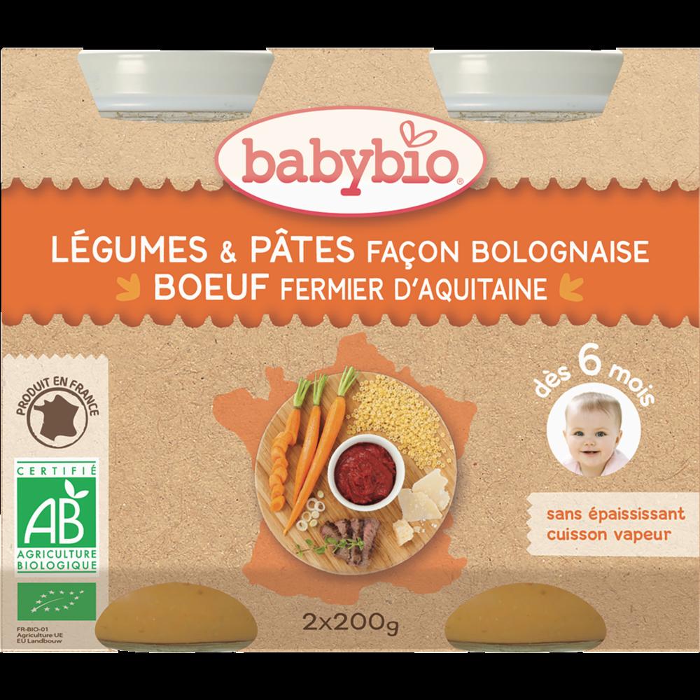 Petit pot légumes, pâtes façon bolognaise, boeuf fermier BIO - dès 6 mois, Babybio (2 x 200 g)