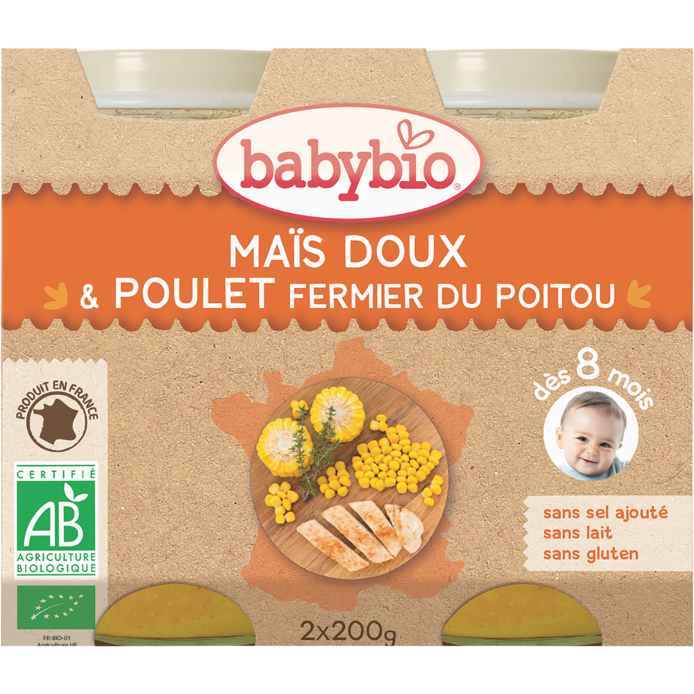 Petit pot maïs doux, poulet fermier du Poitou BIO - dès 8 mois, Babybio (2 x 200 g)