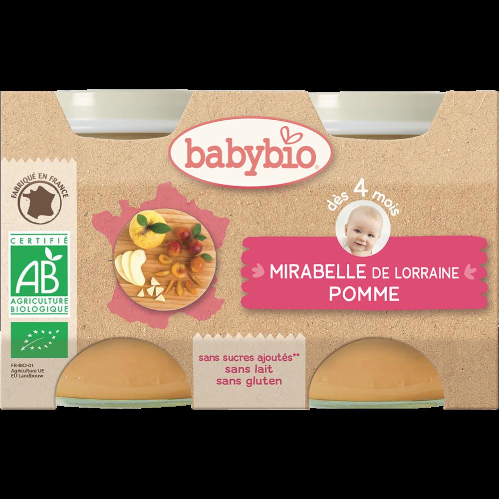 Petit pot mirabelle de Lorraine, pomme BIO - dès 4 mois, Babybio (2 x 130 g)
