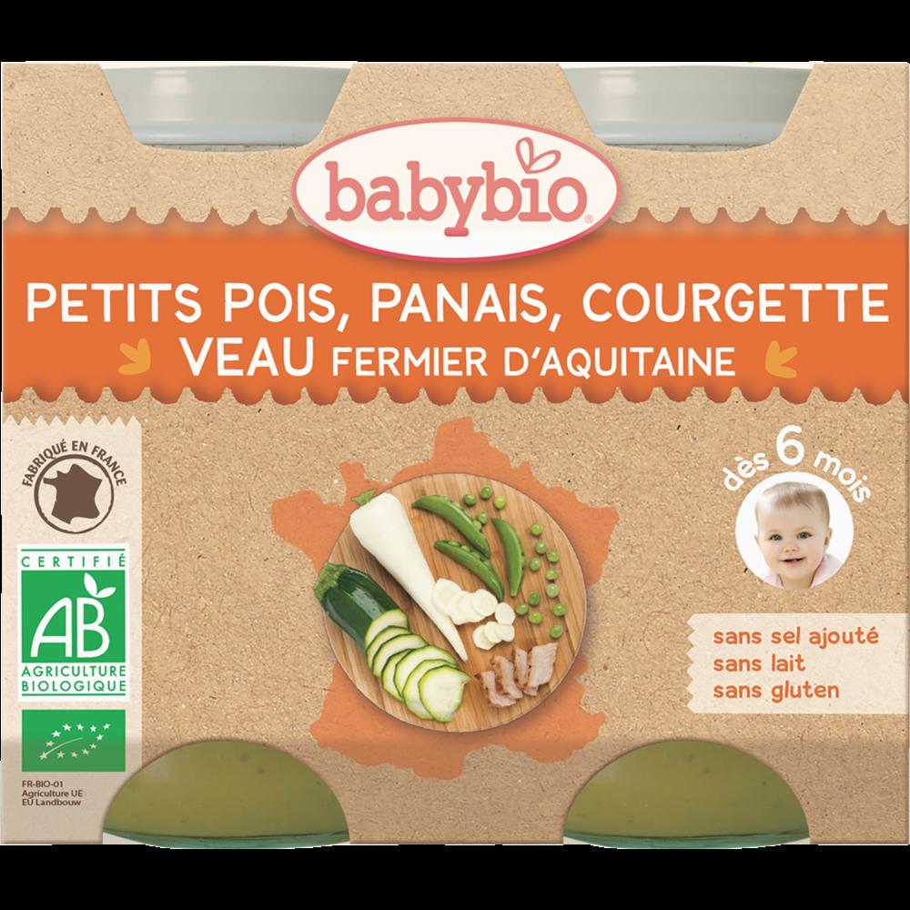 Petit pot petits pois, panais, courgette, veau fermier BIO - dès 6 mois, Babybio (2 x 200 g)