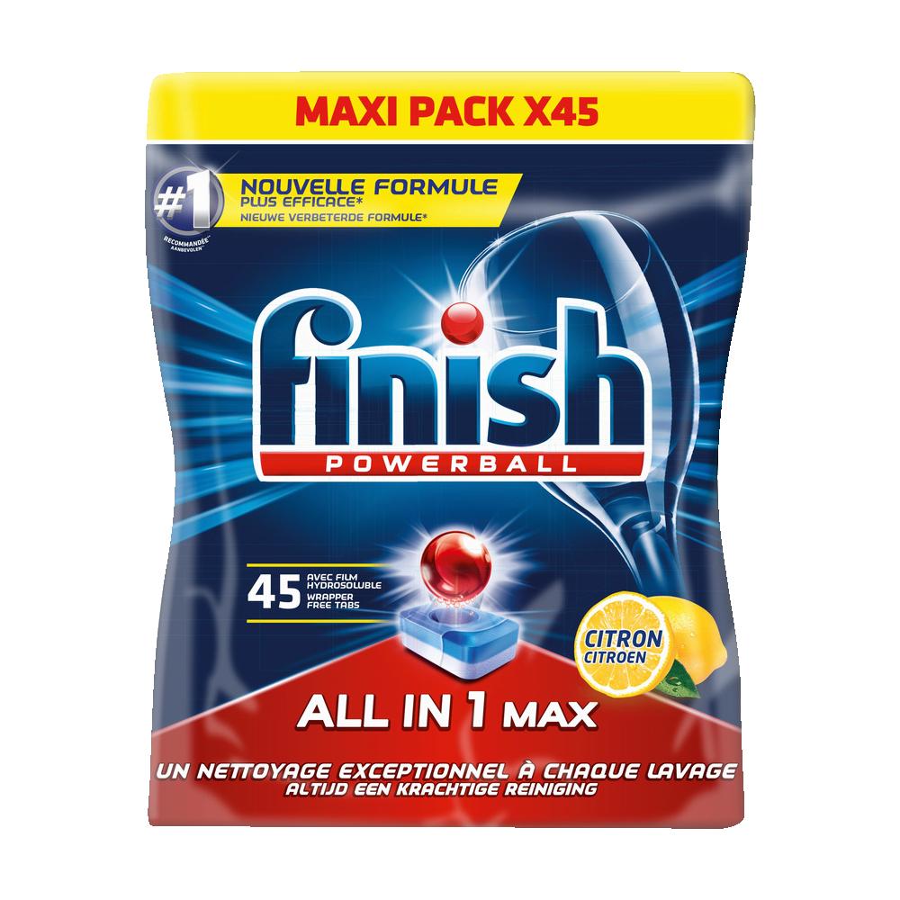 Tablettes lave-vaisselle Powerball tout en 1 dégraissant citron, Finish (x 45)