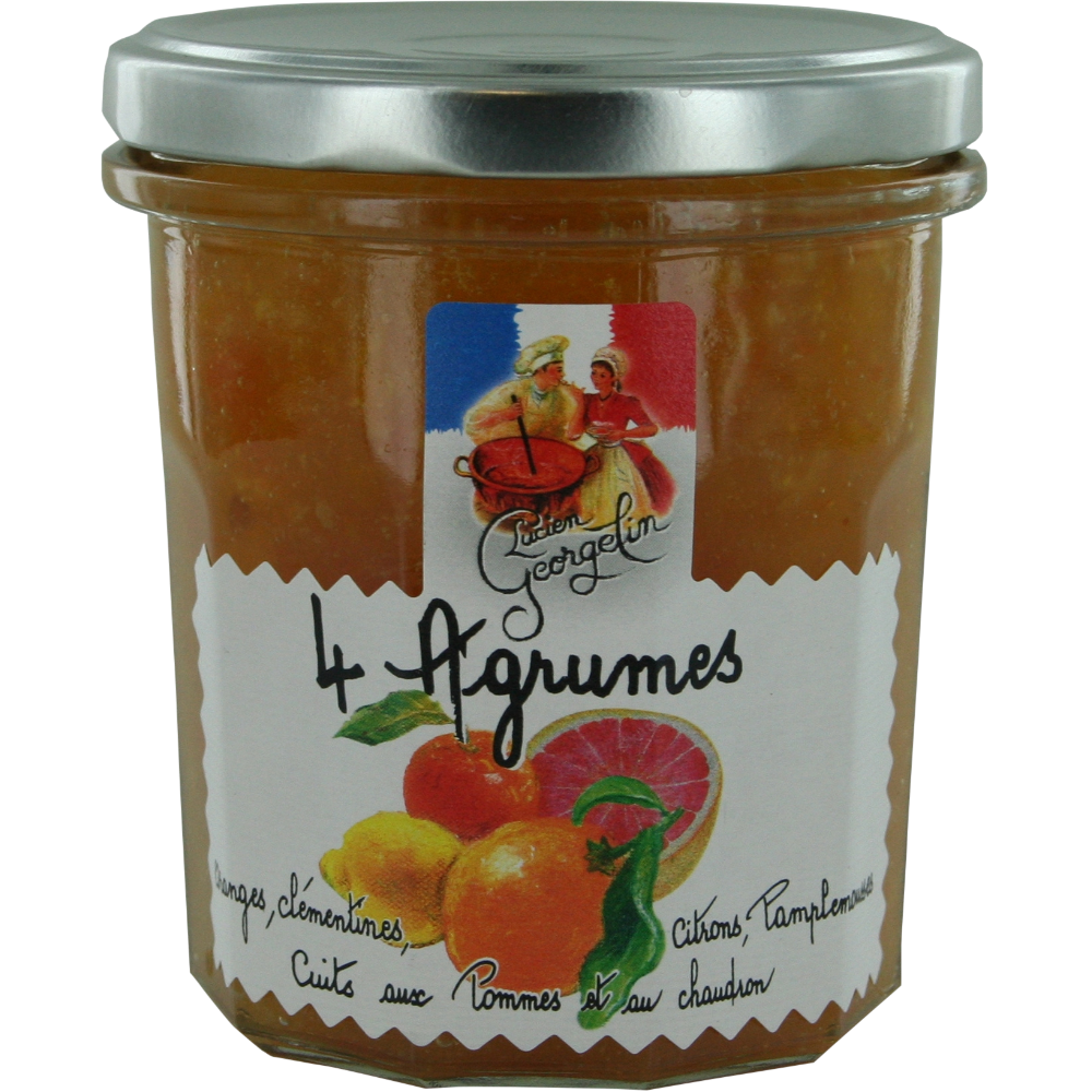 Confiture de 4 agrumes cuits aux pommes et au chaudron, Lucien Georgelin (320 g)