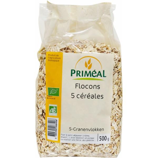 Flocons 5 céréales BIO, Priméal (500 g)