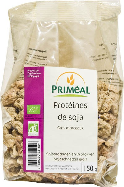 Protéine de soja texturées BIO gros morceaux, Priméal (150 g)