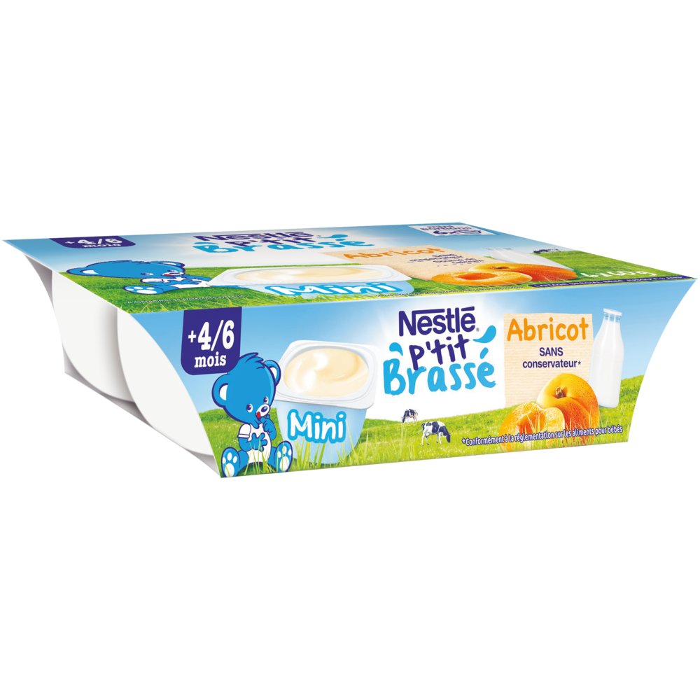 P'tit brassé abricot - dès 4/6 mois, Nestlé (6 x 60 g)