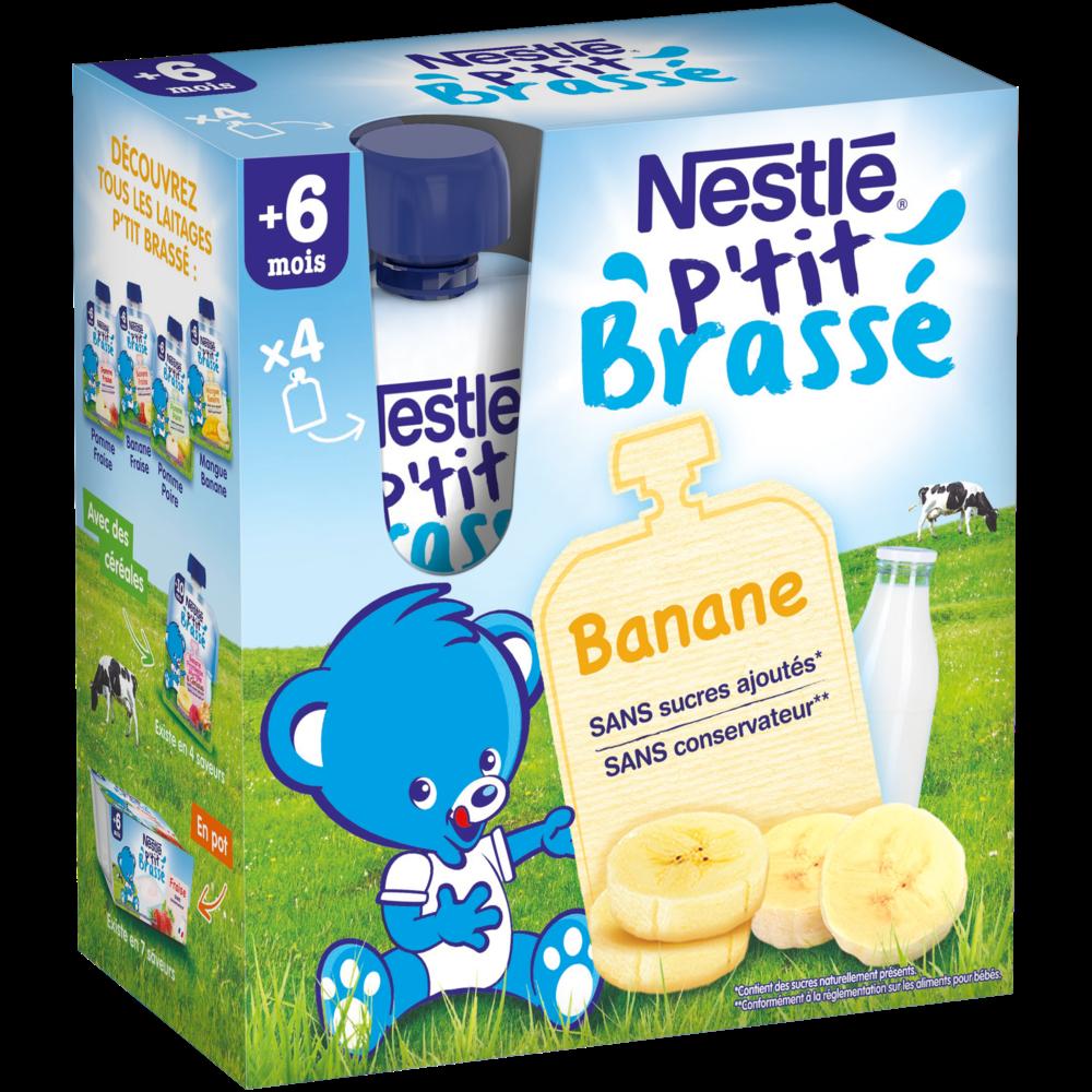 P'tit brassé gourde banane - 6 mois, Nestlé (4 x 90 g)