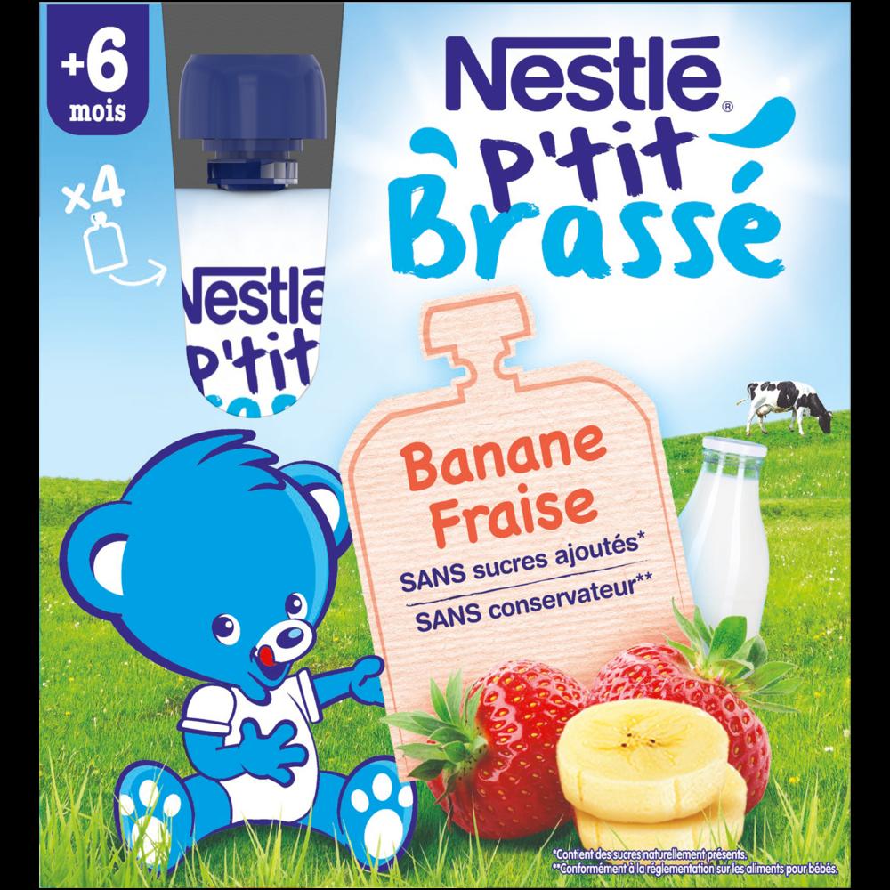P'tit brassé gourde banane et fraise - 6 mois, Nestlé (4 x 90 g)