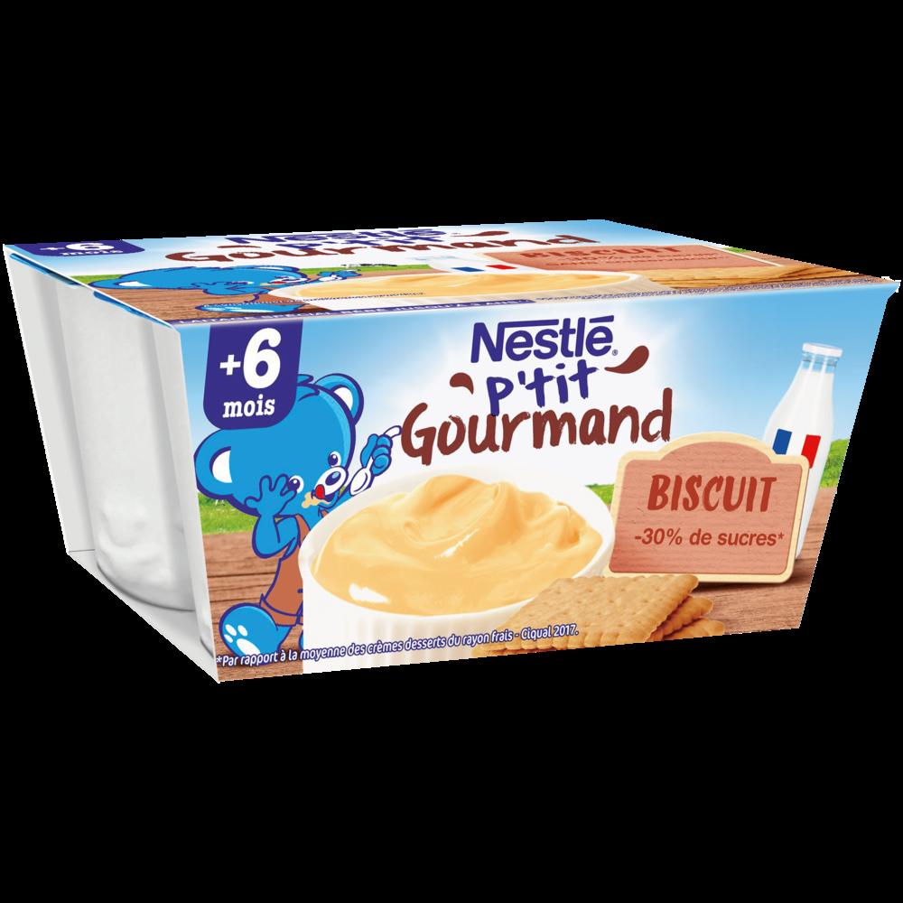 P'tit gourmand crème dessert biscuitée - dès 6 mois, Nestlé (4 x 100 g)