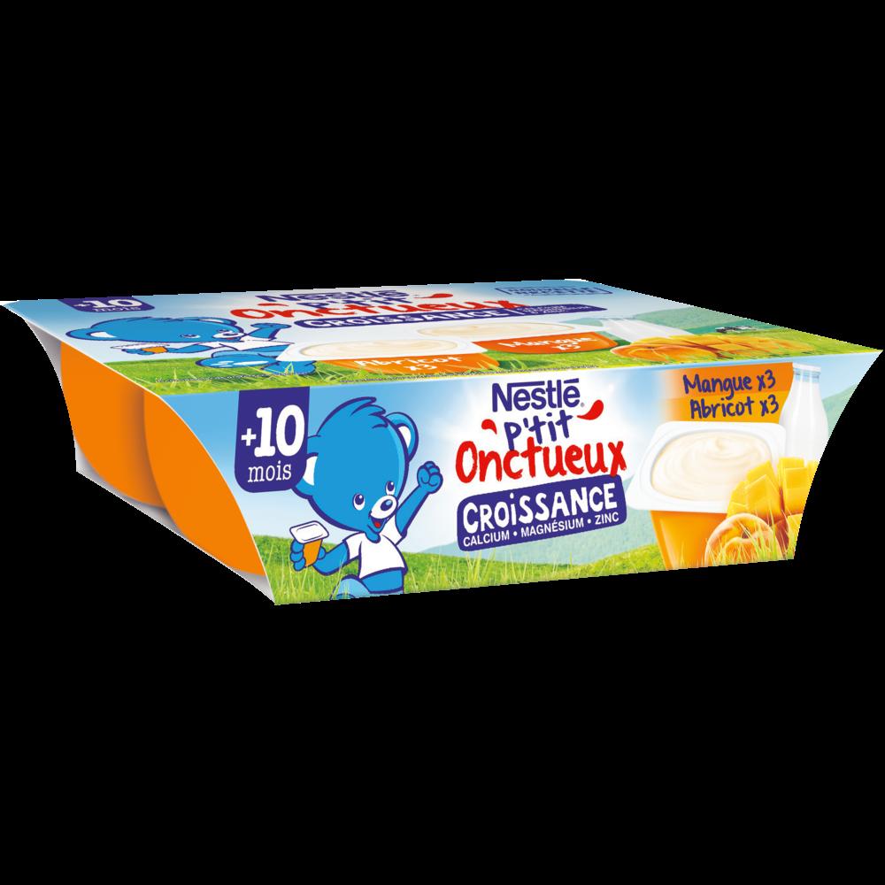 P'tit onctueux croissance abricot/mangue - dès 10 mois, Nestlé (6 x 60 g)