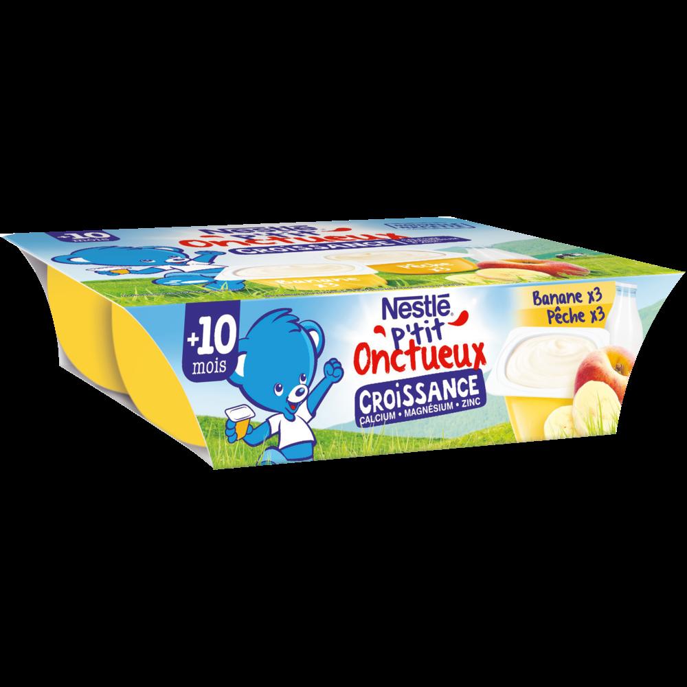 P'tit onctueux croissance banane pêche - dès 10 mois, Nestlé (6 x 60 g)