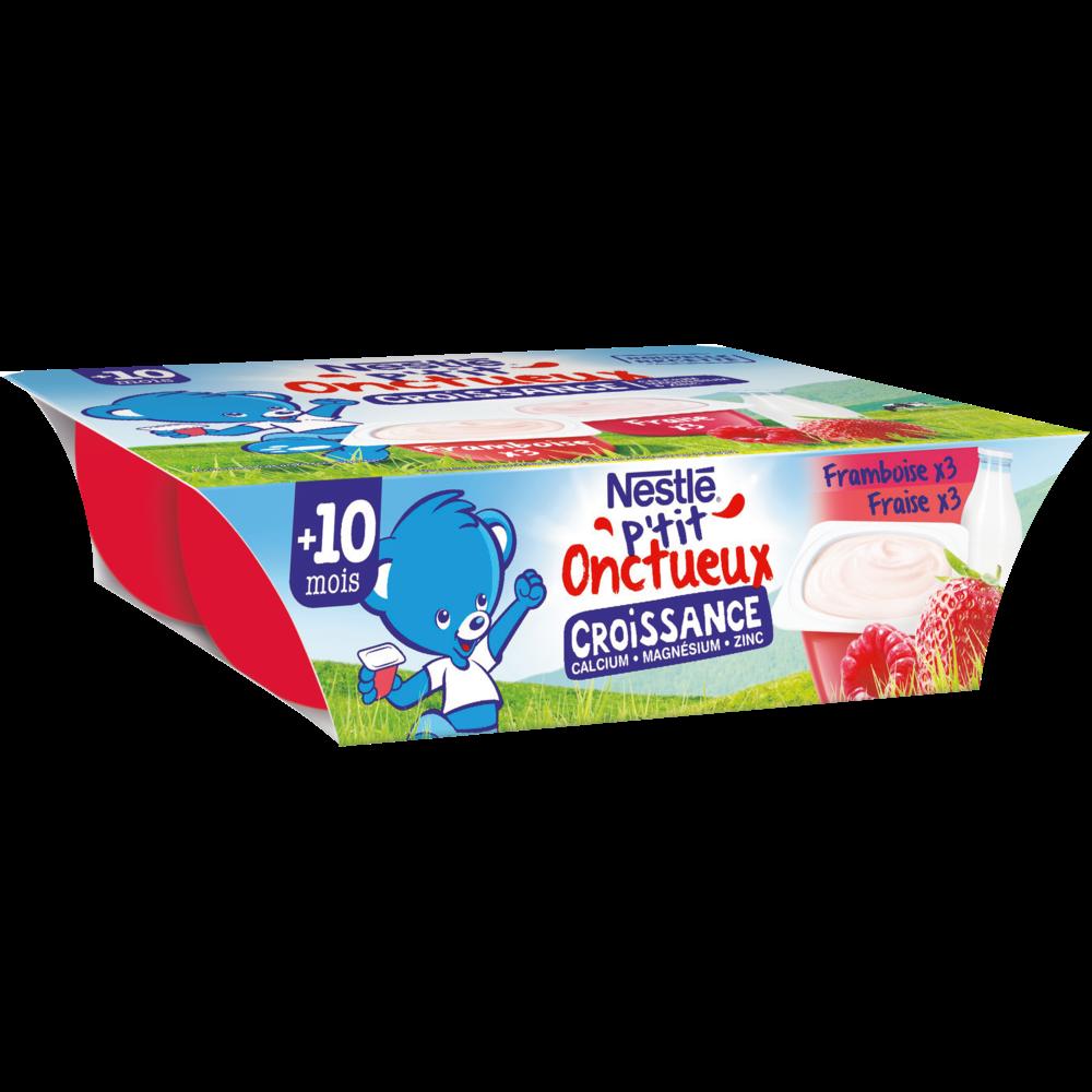P'tit onctueux croissance fraise/framboise - dès 10 mois, Nestlé (6 X 60 g)