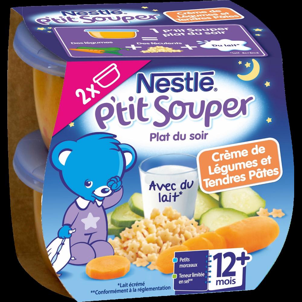 P'tit souper crème de légumes et tendres pâtes - dès 12 mois, Nestlé (2 x 200 g)