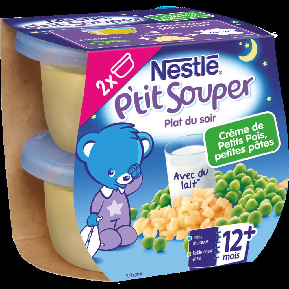P'tit souper crème de petits pois/petites pâtes - dès 12 mois, Nestlé (2 x 200 g)