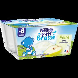P'tit brassé poire lactées - dès 6 mois, Nestlé (4 x 100 g)