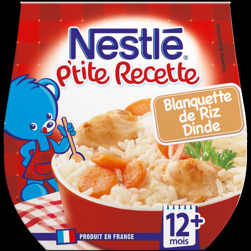 P'tite Recette bols blanquette de riz dinde - dès 12 mois, Nestlé (2 x 200 g)