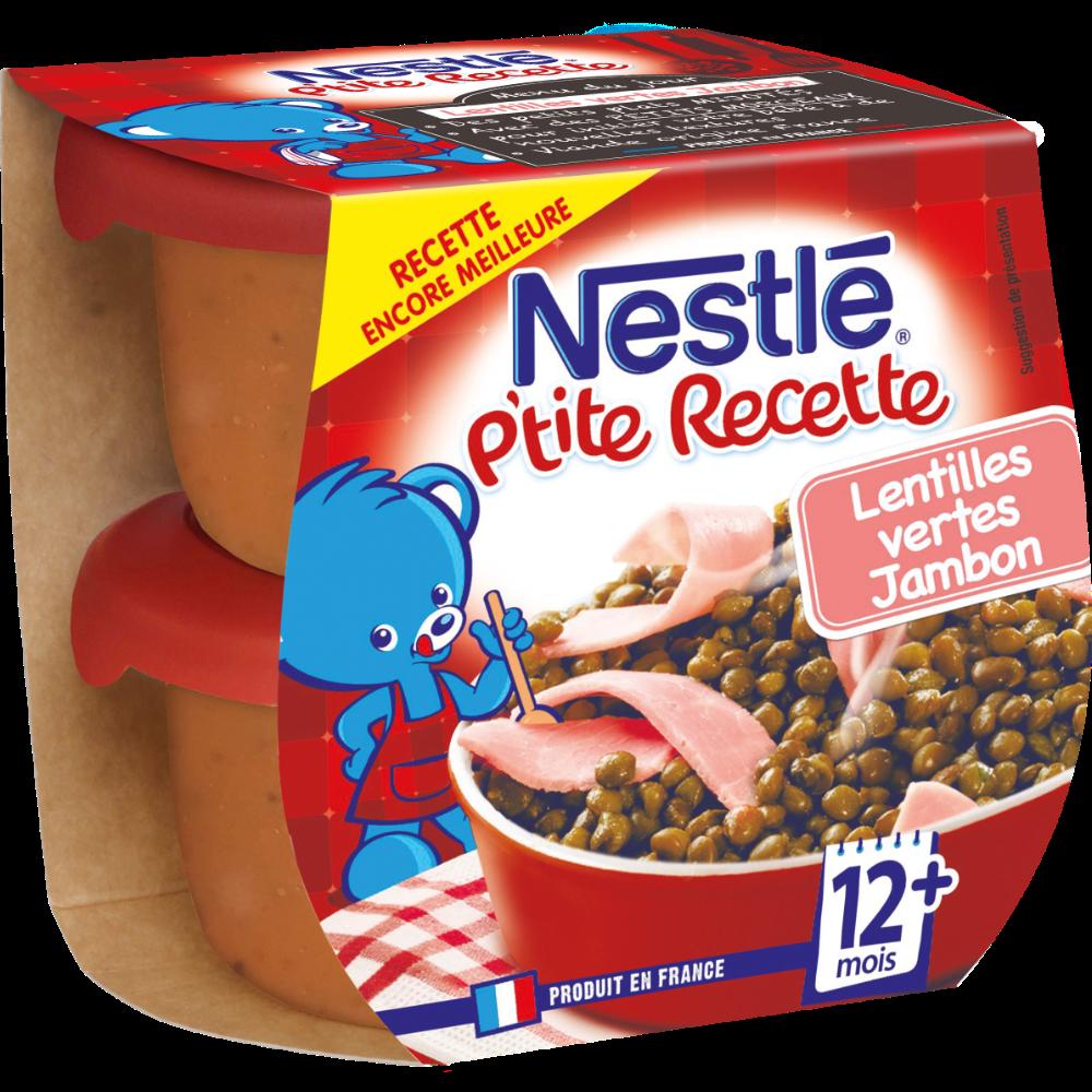 P'tite recette lentille jambon - dès 12 mois, Nestlé (2 x 200 g)