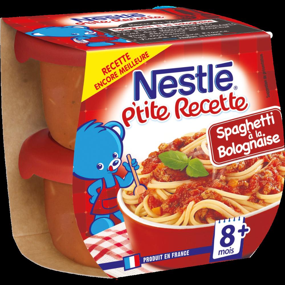 P'tite Recette spaghetti à la bolognaise - dès 8 mois, Nestlé (2 x 200 g)