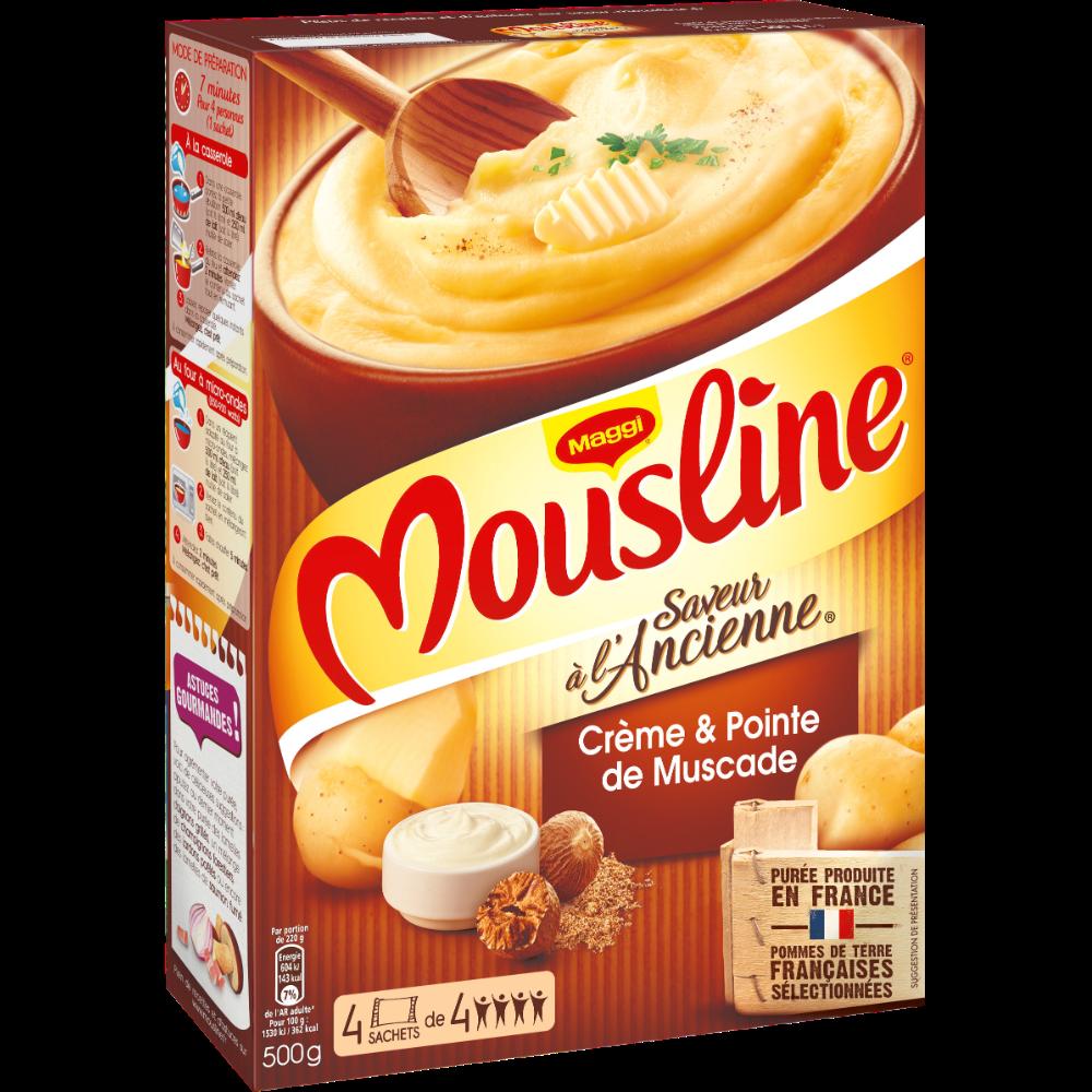 Purée à l'ancienne crème et pointe de noix de muscade Mousline, Maggi (4 x 125 g)