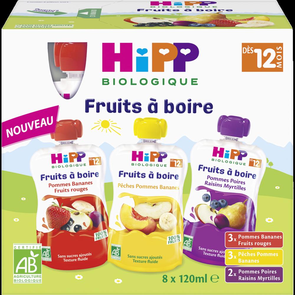 Fruits à boire 3 variétés BIO - dès 12 mois, Hipp (8 x 120 g)